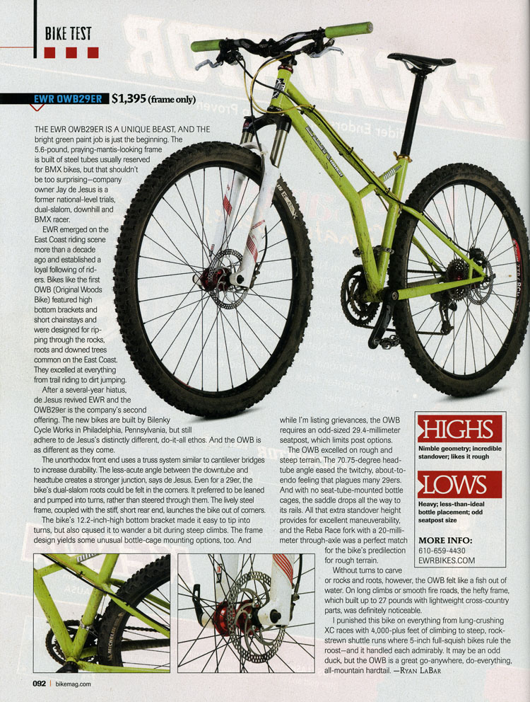 Bikes Magazine OWB er article in Bike Mag